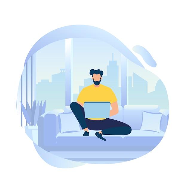 Hombre joven trabajo de carácter en la computadora portátil sentado en el sofá Vector Premium