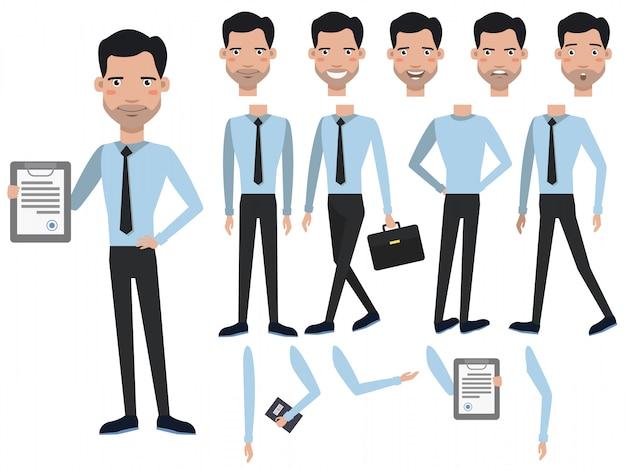 Hombre con juego de caracteres contratado con diferentes poses, emociones. vector gratuito
