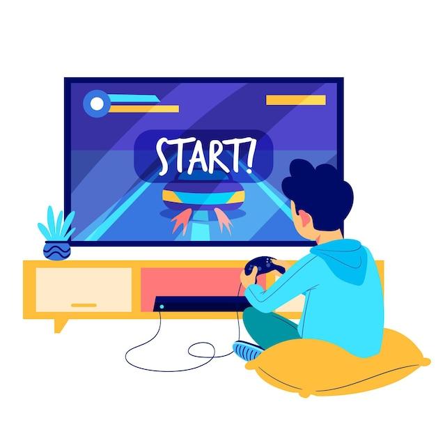 Hombre jugando ilustración de videojuegos vector gratuito