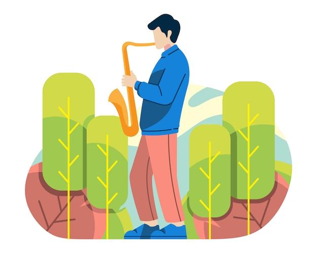 Hombre jugar saxofón en ilustración vectorial de naturaleza Vector Premium