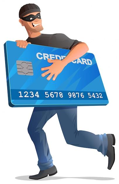 Hombre ladrón corre con tarjeta de crédito Vector Premium
