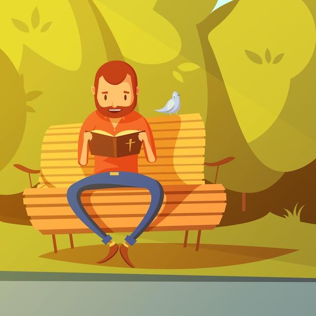 Hombre leyendo la ilustración de la biblia vector gratuito