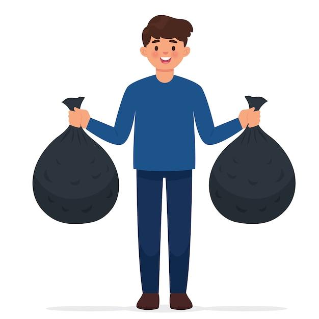 El hombre lleva dos bolsas de basura Vector Premium