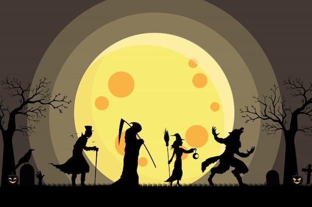 Hombre lobo, bruja, ángel de la muerte, silueta caminando de drácula ir trick or treat Vector Premium