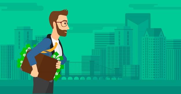 Hombre con maleta llena de dinero. Vector Premium