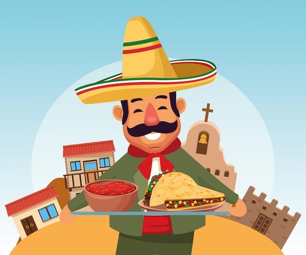 Hombre mexicano de la historieta Vector Premium