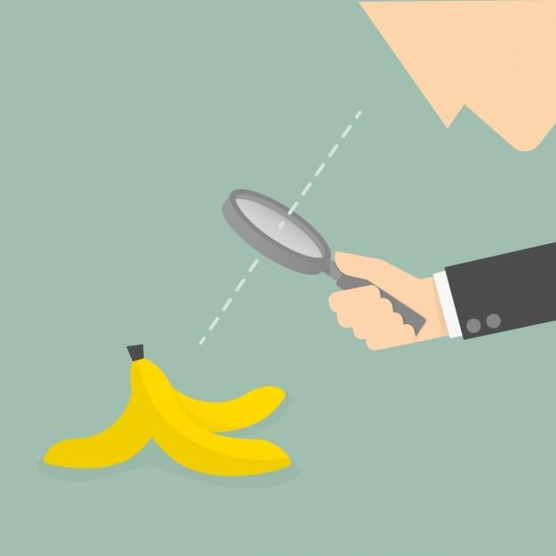 Hombre mirando una cáscara de plátano vector gratuito