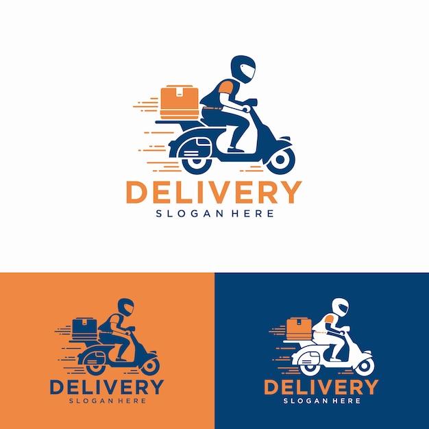 Un hombre monta una moto. logotipo de entrega Vector Premium