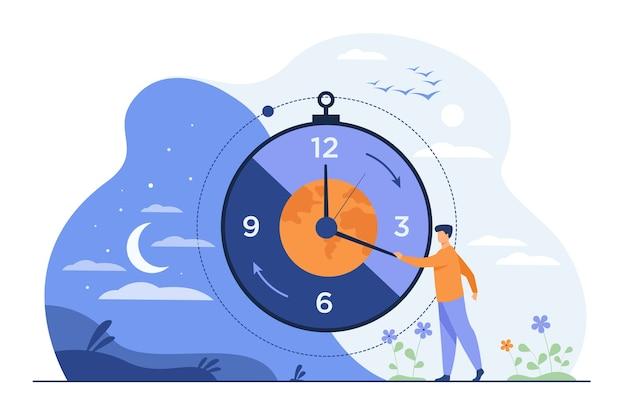 Hombre moviendo las flechas del reloj y gestionando el tiempo. vector gratuito
