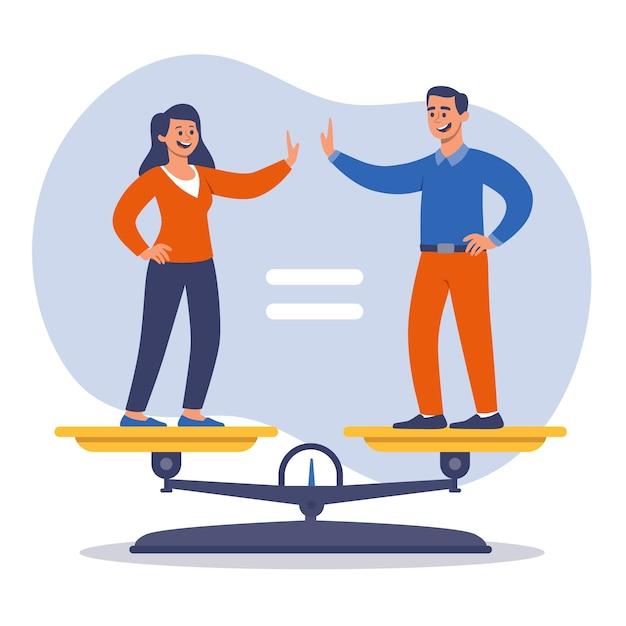 El hombre y la mujer aceptan la idea de igualdad de género. Vector Premium