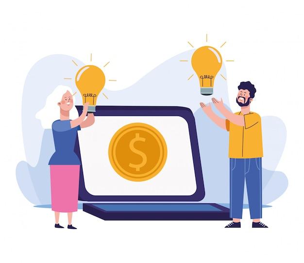 Hombre y mujer con bombillas y computadora portátil con moneda de dinero Vector Premium
