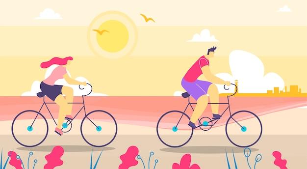 Hombre y mujer caminando en bicicleta plana de dibujos animados Vector Premium