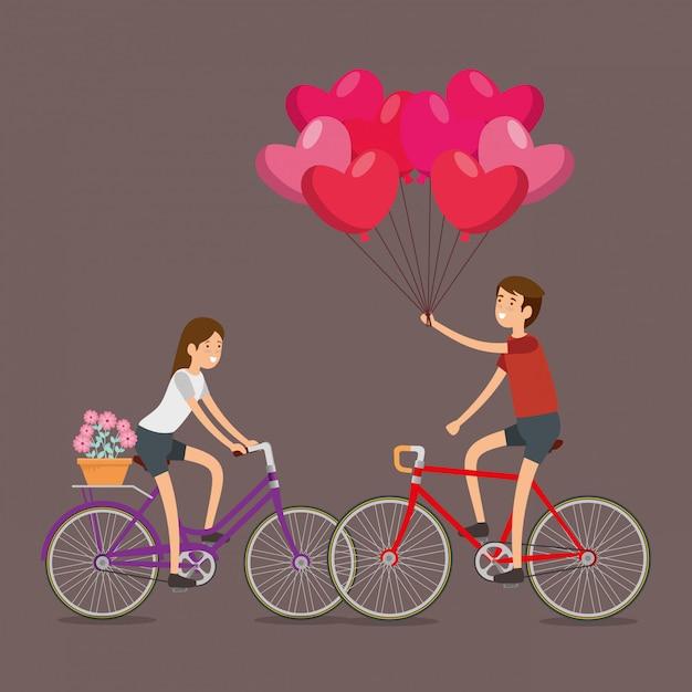 Hombre y mujer celebran el día de san valentín en bicicleta vector gratuito