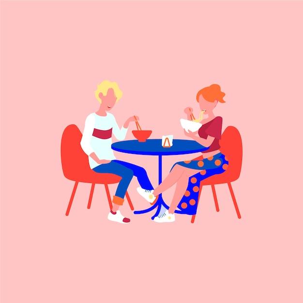 El hombre y la mujer comen ramen en la cita. Vector Premium