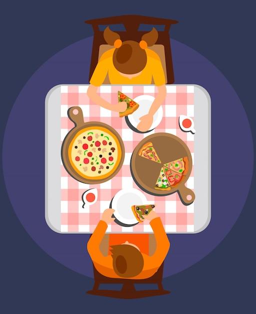 Hombre y mujer comiendo comida ilustración vectorial plana Vector Premium