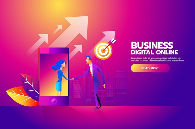 Hombre y mujer dándose la mano a través de la pantalla móvil para móvil de negocios Vector Premium