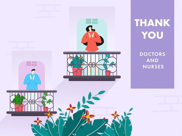 Hombre y mujer de dibujos animados aplauden para apreciar a los médicos y enfermeras desde el balcón con decir gracias sobre fondo púrpura de la naturaleza. Vector Premium