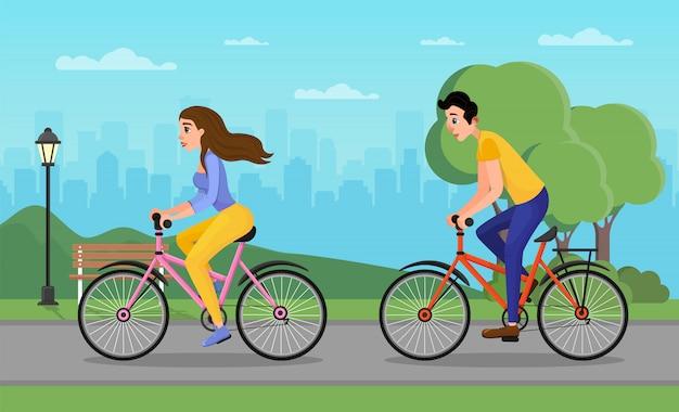 Hombre y mujer de dibujos animados en bicicleta en el parque urbano de la ciudad Vector Premium