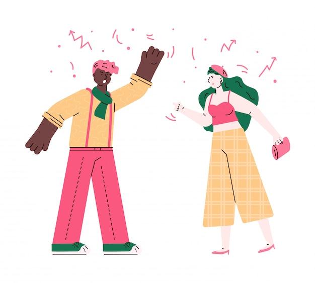 Hombre y mujer enojados que tienen una pelea - problema de relación de pareja entre adolescentes jóvenes. chico y chica gritando y luchando, ilustración vectorial plana aislada. Vector Premium