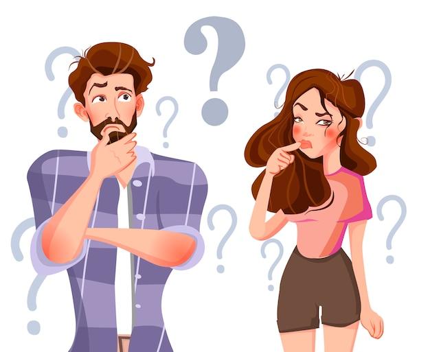 foto de El hombre y la mujer están pensando Vector Premium