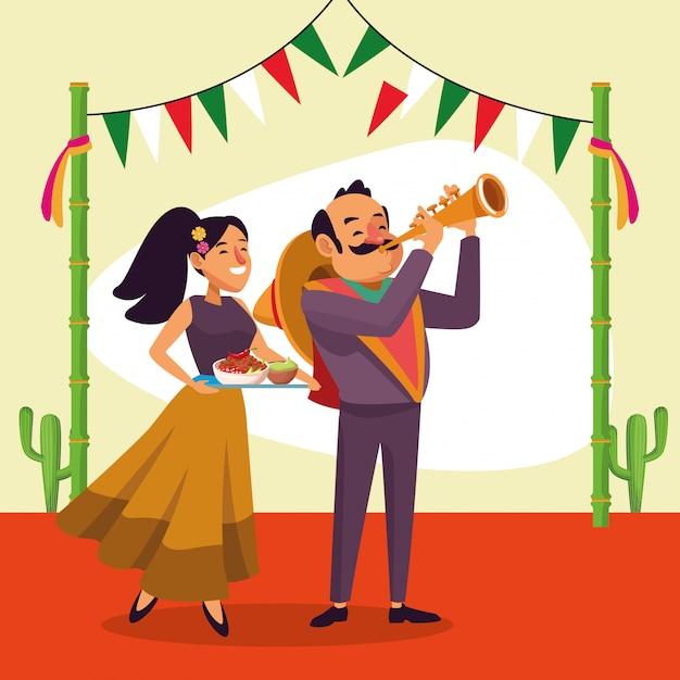 Hombre y mujer mexicana Vector Premium