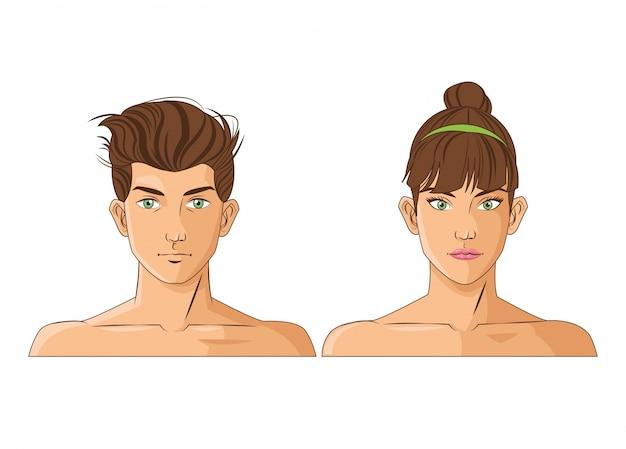 Hombre Mujer Mujer Icono De Dibujos Animados Y Cabeza Masculina
