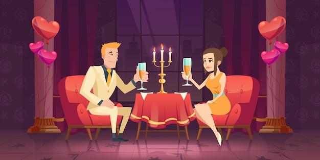 Hombre mujer pareja cita romántica en el restaurante. vector gratuito