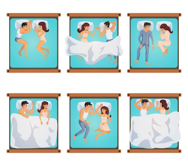 Hombre y mujer en poses para dormir vector gratuito