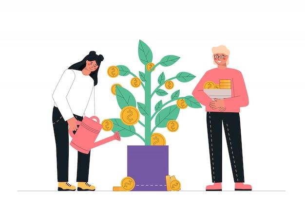 Hombre y mujer regando el árbol del dinero, ingresos pasivos, inversión, ahorro financiero. Vector Premium