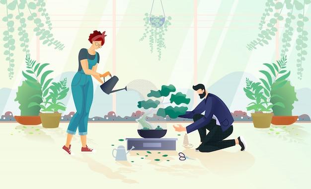 Hombre y mujer regando árboles en maceta ilustración Vector Premium
