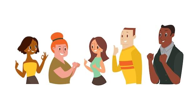 Hombre y mujeres sonrientes gesticulando bien signo, mostrando el pulgar hacia arriba. ilustración de dibujos animados Vector Premium