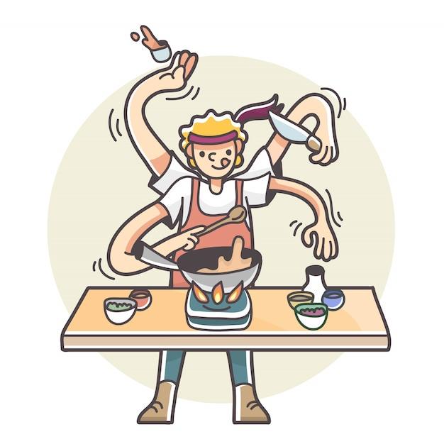 Hombre con múltiples brazos cocinando ilustración multitarea Vector Premium