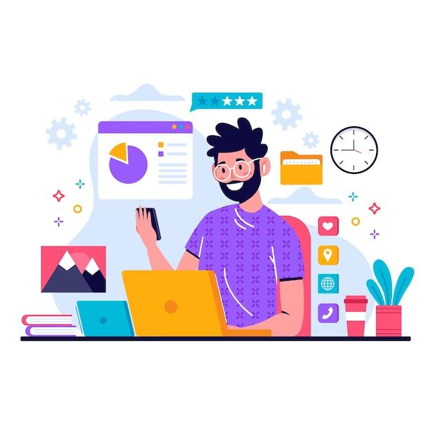 Hombre multitarea en el trabajo vector gratuito