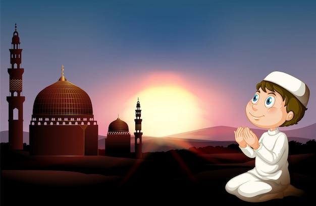Hombre musulmán rezando en la mezquita vector gratuito