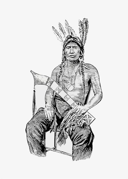 Hombre nativo americano vector gratuito