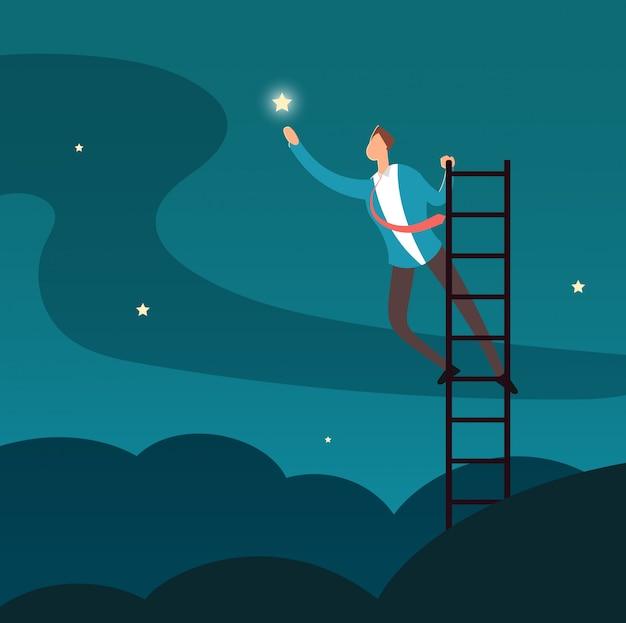 Hombre de negocios acertado que alcanza la estrella. hombre subiendo a las estrellas. concepto de vector de éxito de negocio y carrera Vector Premium