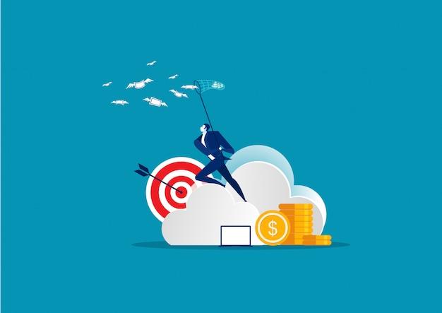 Hombre de negocios atrapar dinero en vector de concepto de nube Vector Premium