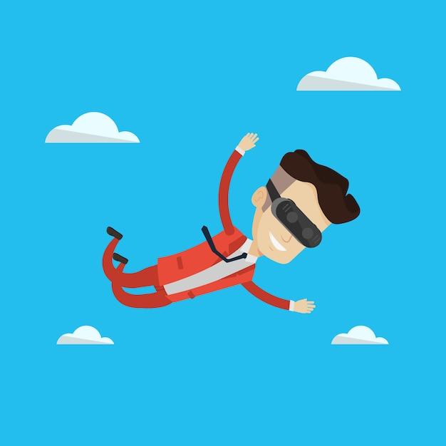 Hombre de negocios en auriculares vr volando en el cielo. Vector Premium