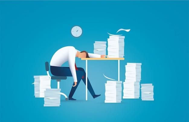 Hombre de negocios cansado concepto de exceso de trabajo Vector Premium