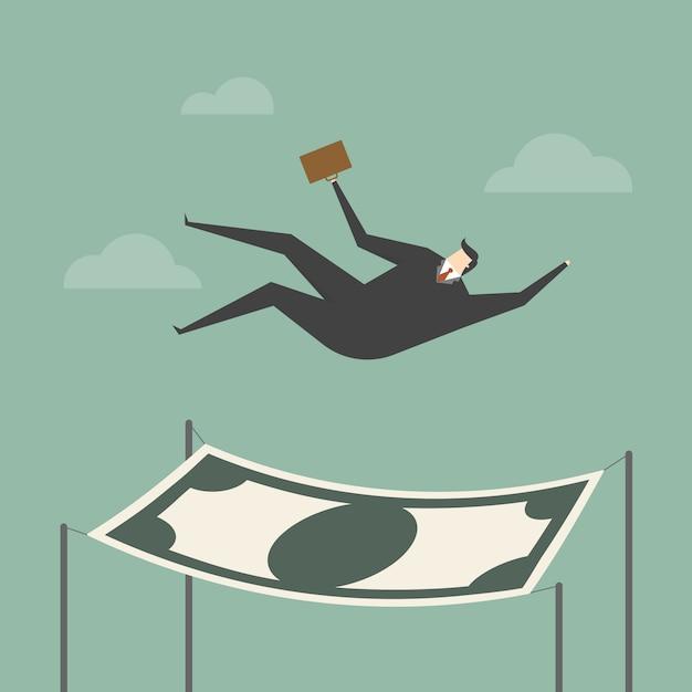 Hombre de negocios cayendo sobre un billete vector gratuito
