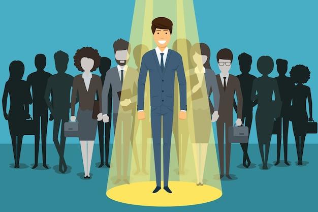 Hombre de negocios en el centro de atención. contratación de recursos humanos. éxito de la persona, empleado y carrera. vector gratuito