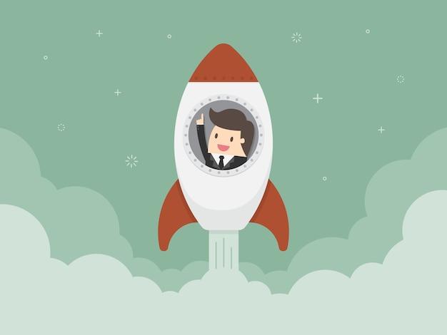 Hombre de negocios en un cohete vector gratuito