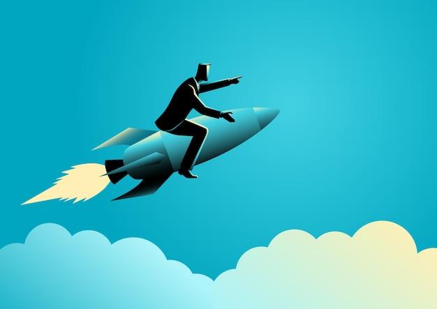Hombre de negocios en un cohete Vector Premium