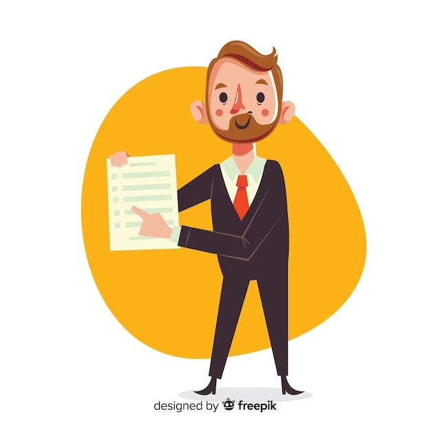 Hombre de negocios con contrato en diseño plano vector gratuito