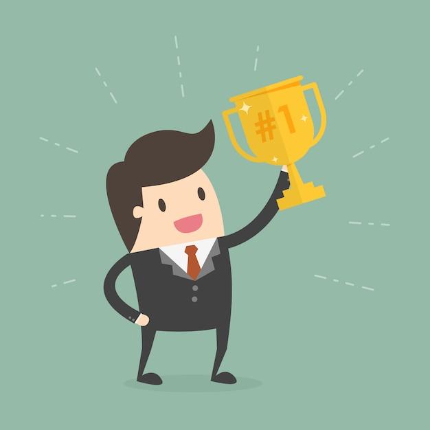 Hombre de negocios con copa de campeón vector gratuito