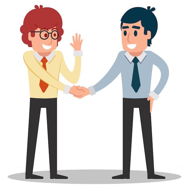 Hombre de negocios dándose la mano Vector Premium