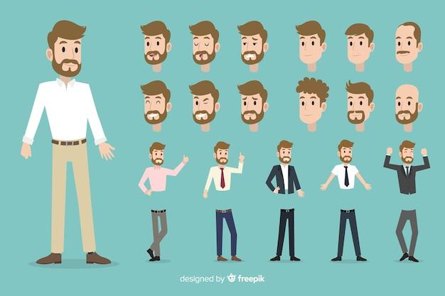Hombre de negocios con diferentes posturas vector gratuito