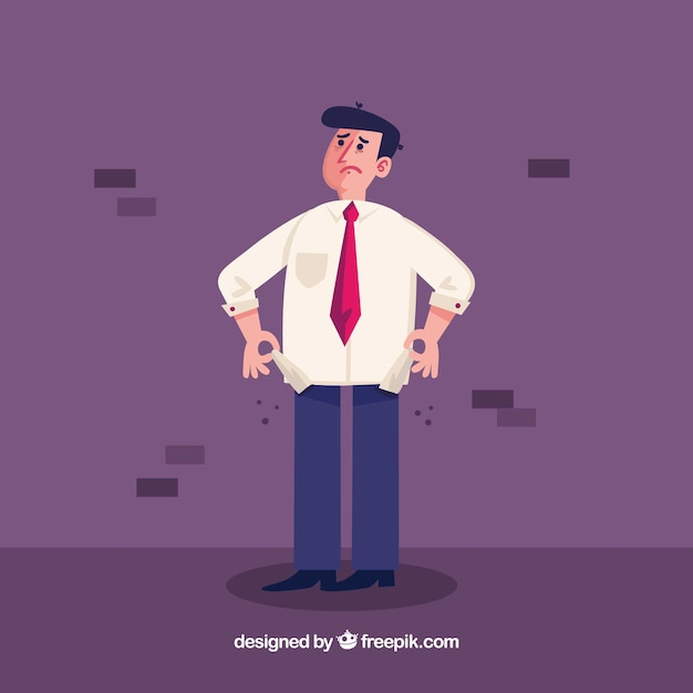 Hombre de negocios sin dinero en los bolsillos Vector Premium