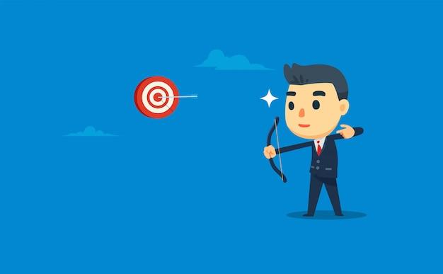 Un hombre de negocios está disparando al objetivo con precisión. ilustración vectorial Vector Premium