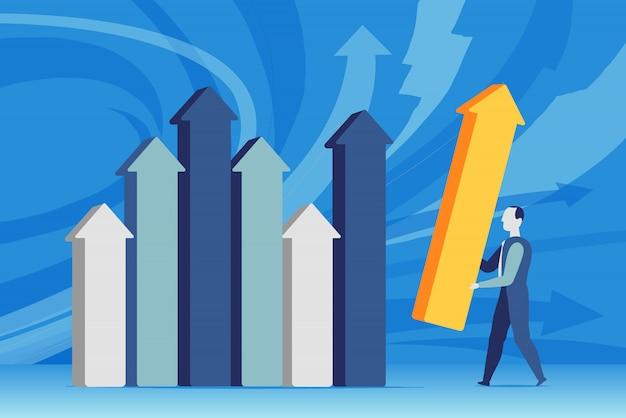 Un hombre de negocios establece las estadísticas de ventas Vector Premium